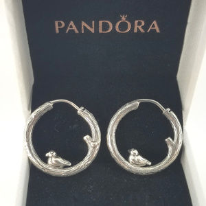 Pandora Silver Spring Bird Hoop Earrings # 297072